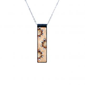 Sunflower - Long Rectangle Necklace - Clear Enamel Pop Up - 22""