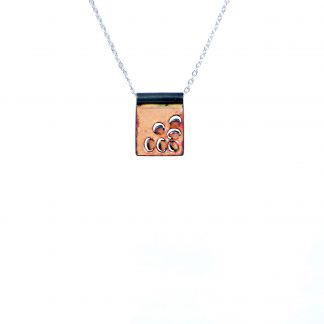 Mum - Small Square Necklace - Clear Enamel Pop Up - 22""