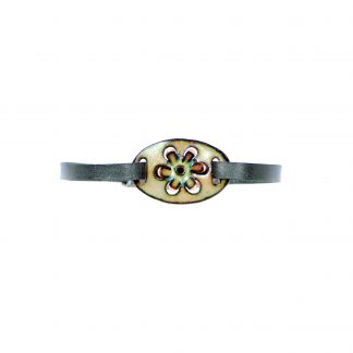 Daisy - Small Oval Bracelet - Clear Enamel Pop Up - Flat Leather Metallic Gray - Hook & Clip Clasp - 7""