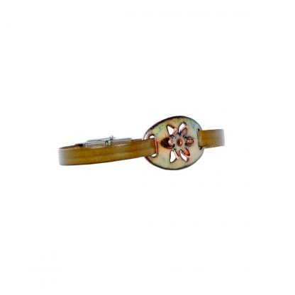 """Daffodil - Small Oval Bracelet - Clear Enamel Pop Up - Flat Leather Olive Green - Hook & Clip Clasp - 7"""" (side view)"""
