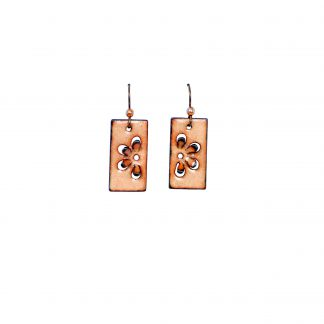 Daisy - Short Rectangle Earrings - Clear Enamel Pop Up - Anodized Niobium (hypo-allergenic)