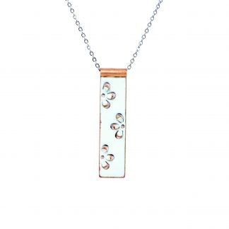 Daisy - Long Rectangle Necklace - White Enamel Pop Up - 22""