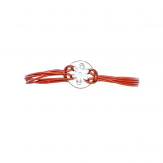 Daisy - Small Circle Bracelet - White Enamel Pop Up - 1mm Leather Cord Metallic Copper - Lobster Clasp - 8""