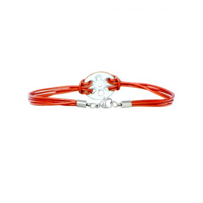 "Daisy - Small Circle Bracelet - White Enamel Pop Up - 1mm Leather Cord Metallic Copper - Lobster Clasp - 8"" (back view)"