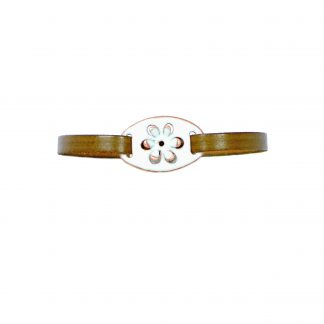 Daisy - Small Oval Bracelet - White Enamel Pop Up - Flat Leather Olive Green - Hook & Clip Clasp - 7""