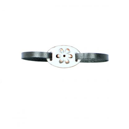 Daisy - Small Oval Bracelet - White Enamel Pop Up - Flat Leather Metallic Gray - Hook & Clip Clasp - 7""