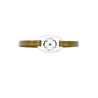 Poppy- Small Oval Bracelet - White Enamel Pop Up - Flat Leather Olive Green - Hook & Clip Clasp - 7""