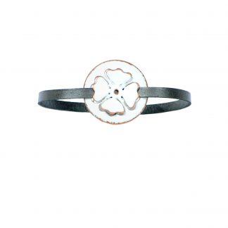 Poppy- Medium Circle Bracelet - White Enamel Pop Up - Flat Leather Metallic Gray - Hook & Clip Clasp - 7""