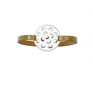 Mum - Medium Circle Bracelet - White Enamel Pop Up - Flat Leather Olive Green - Hook & Clip Clasp - 7""