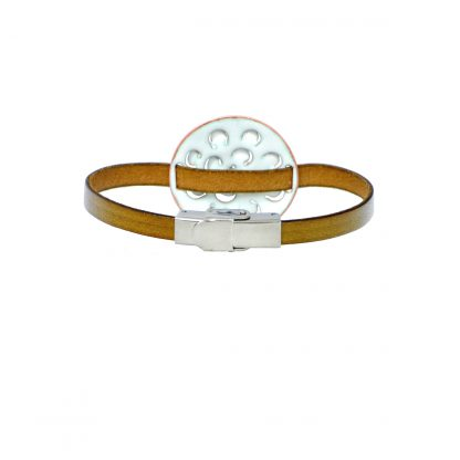 "Mum - Medium Circle Bracelet - White Enamel Pop Up - Flat Leather Olive Green - Hook & Clip Clasp - 7"" (back view)"