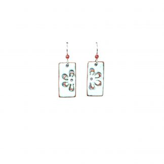 Daisy - Short Rectangle Earrings - White Enamel Pop Up - Sterling Wire
