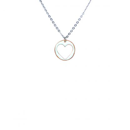 """Heart - Small Circle Necklace - White Enamel Cut-Out - 22"""""""