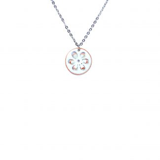 Daisy - Small Circle Necklace - White Enamel Pop Up - 22""