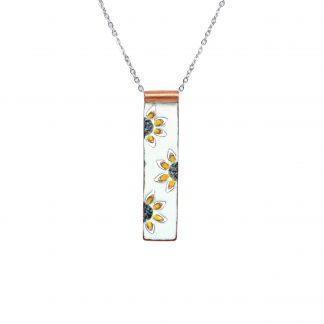 Sunflower - Long Rectangle Necklace - Whatercolor White Enamel Pop Up - Yellow - 22""