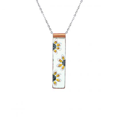 """Sunflower - Long Rectangle Necklace - Whatercolor White Enamel Pop Up - Yellow - 22"""""""