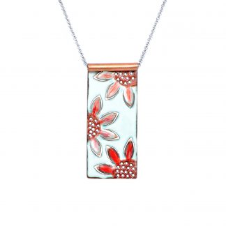 Sunflower - Long Wide Rectangle Necklace - Watercolor White Enamel Pop Up - Red - 22""