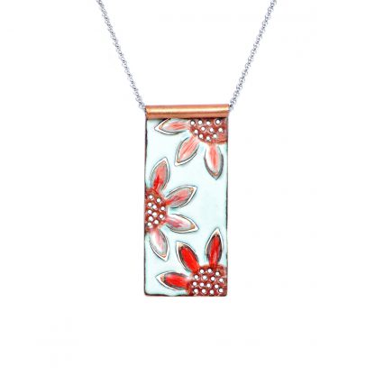 """Sunflower - Long Wide Rectangle Necklace - Watercolor White Enamel Pop Up - Red - 22"""""""
