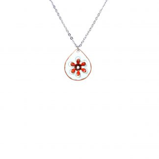 Daisy - Small Drop Necklace - Watercolor White Enamel Pop Up - Red - 22""