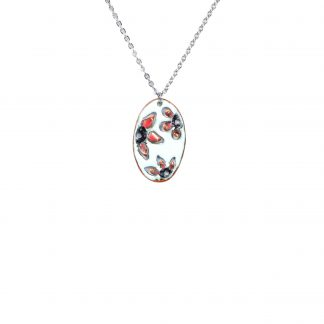 Flower Bouquet - Small Oval Necklace - Watercolor White Enamel Pop Up - Red - 22""
